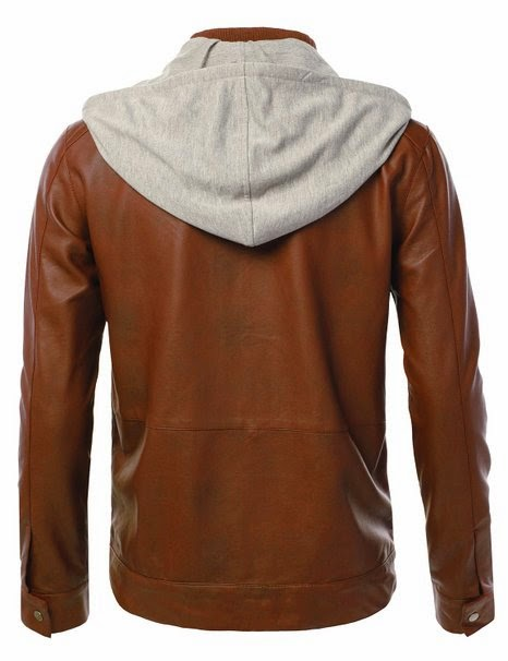 DressForLess Men's Faux Leather Jacket with Quilted Pattern
