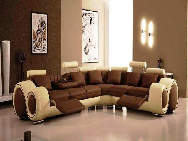 Wall painting ideas for living room for Brown living room furniture ideas
