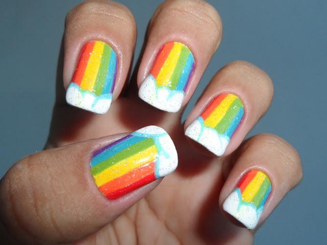 Unhas Decorada - Arco-íris