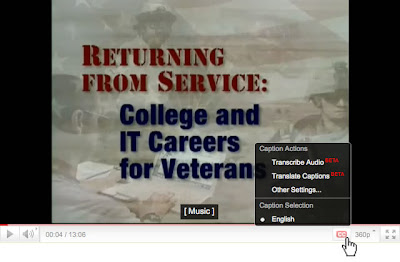 Screen shot of the YouTube Player on an individuals video's home page. The player includes a CC button and captions submenu