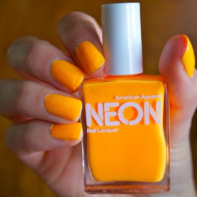 american apparel neon orange nail polish bright