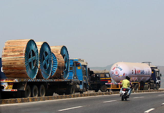 heavy trucks on highway