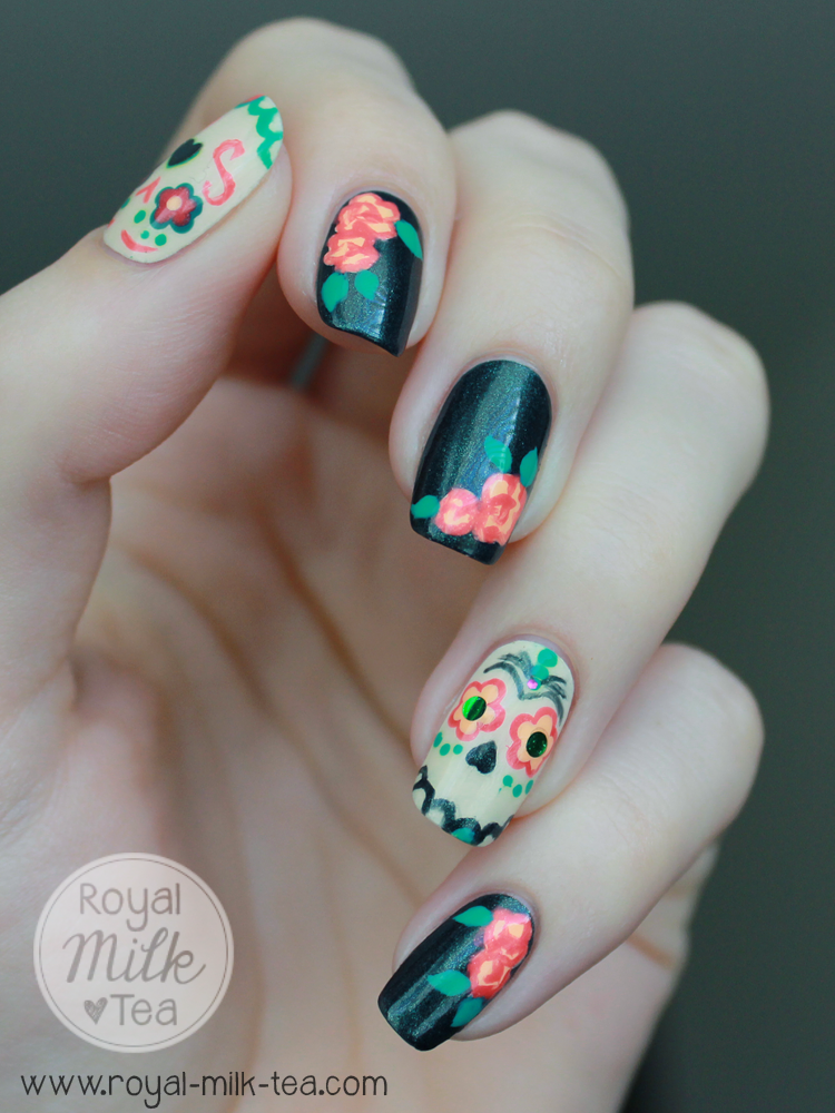 I definitely want to try more spooky skulls and calaveras de azúcar nail art  (and hopefully get less of a swirly uni-brow thing going on) but overall  I'm ... - Royal Milk Tea: Dia De Los Muertos: Sugar Skull Nail Art