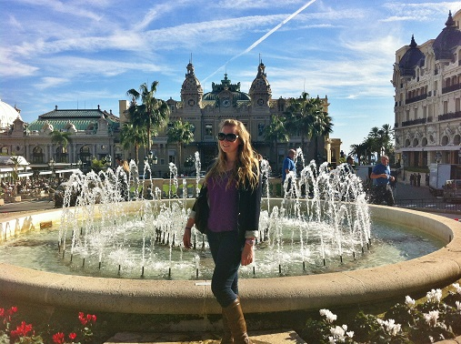 Girl by fountain, Casino Square Monaco