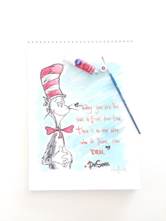 Dr. Seuss Cat in the Hat watercolor art | Chandara Creative