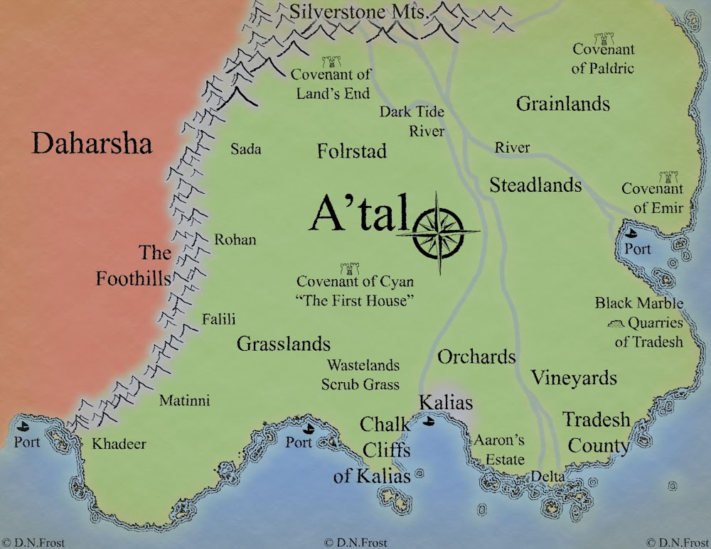 Work-In-Progress image of A'tal, a map commission by D.N.Frost for Morgyn Star http://www.dnfrost.com/2015/07/continents-of-atal-map-commission.html Part 2 of a series.