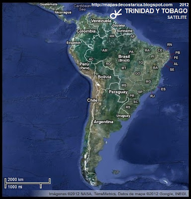 Sudamrica. Ubicacin de TRINIDAD Y TOBAGO en Sudamrica, Vista Satelital 