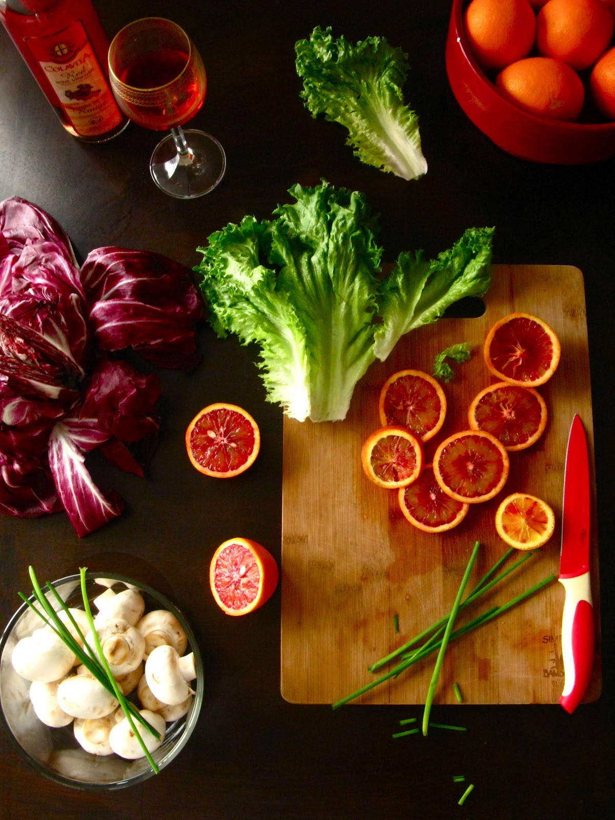 Red Cabbage Leaf Salad with Blood Oranges and Chives ...