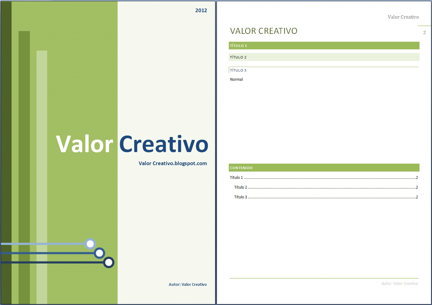 Valor Creativo: Plantilla Word 2003, 2007 y 2010 - Junio 2012