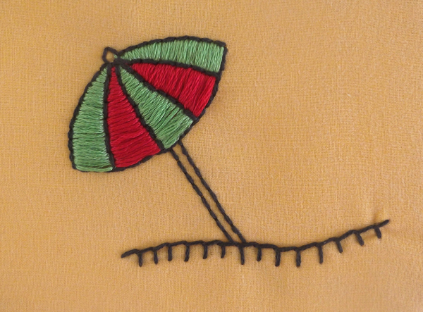 umbrella, embroidery, stitching