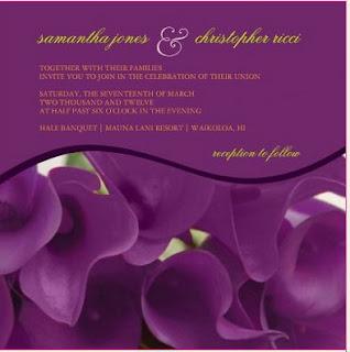 Calla lilies invitation