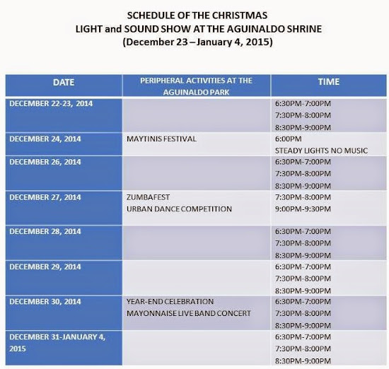 Schedule of 2014 Christmas Light and Sound Show at Aguinaldo Shrine