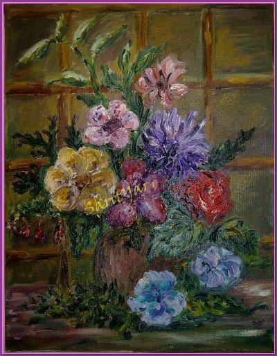 jarron con flores al oleo