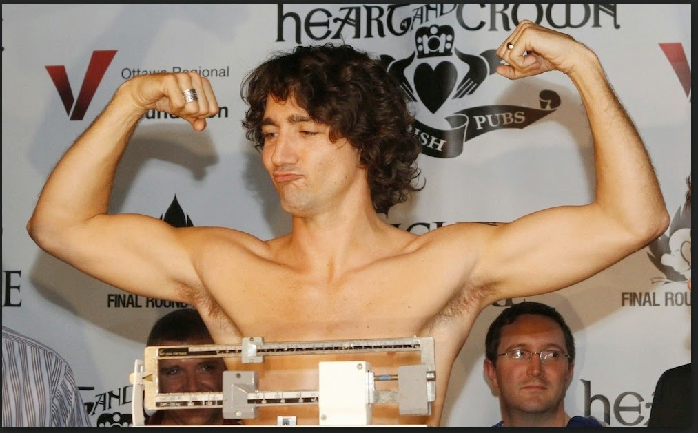 Justin Trudeau playing for the camera.