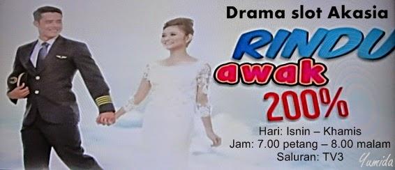 Sinopsis Rindu Awak 200%, Rindu Awak 200 peratus, gambar drama Rindu Awak 200%, pelakon Rindu Awak 200%, OST Rindu Awak 200%