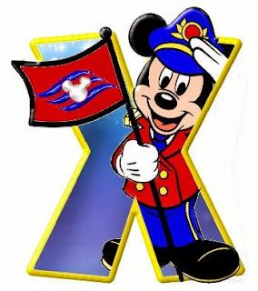Alfabeto de personajes Disney con letras grandes X Mickey.