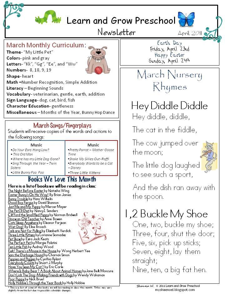 april preschool newsletter download pets