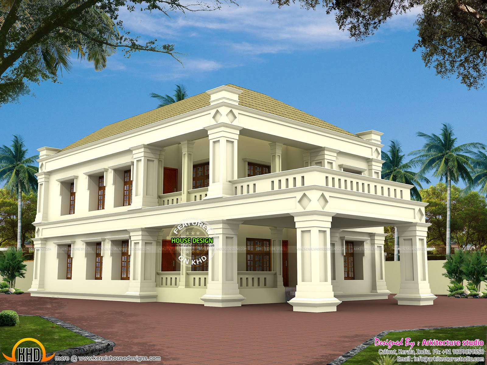 Square pillar type colonial mix home kerala home design for Colonial style house plans kerala