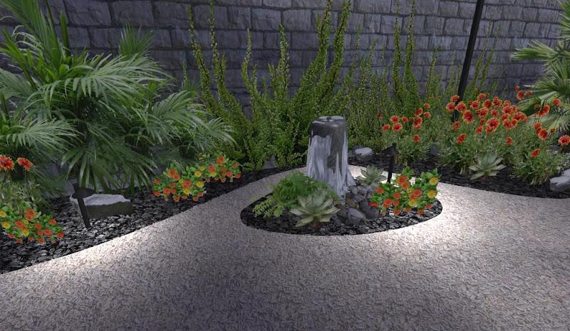 modelo de jardin con flores y fuente pilar sobre piedras, iluminado de noche