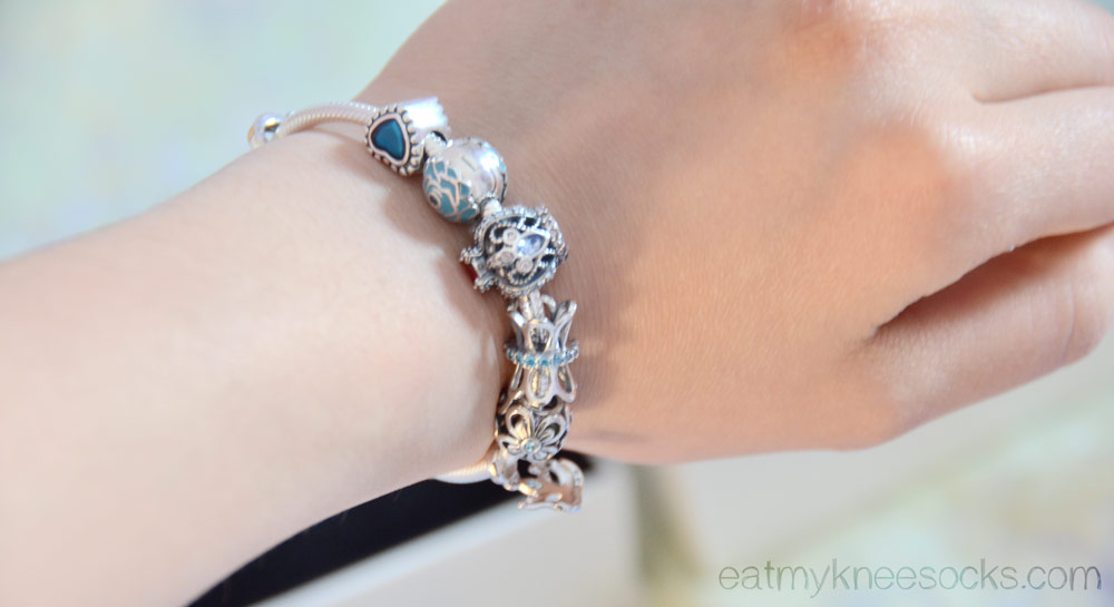Last photo of the Soufeel charm bracelet, a dupe of the popular Pandora charm bracelet style.