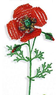 Цветок мак из бисера