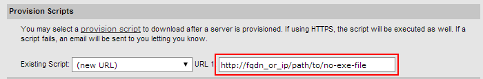 Specify one-time script URL during SoftLayer server order