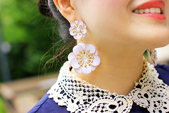 BaubleBar White Double Zinnia Drops Earrings
