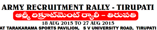 Indian Army NIC Recruitment Rally at Tirupati : Job Vacancy for B.Sc and Diploma.