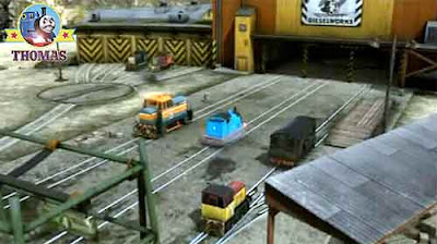 Thomas and his friends the diesel trains went clickety clack on the railway track to the Dieselworks