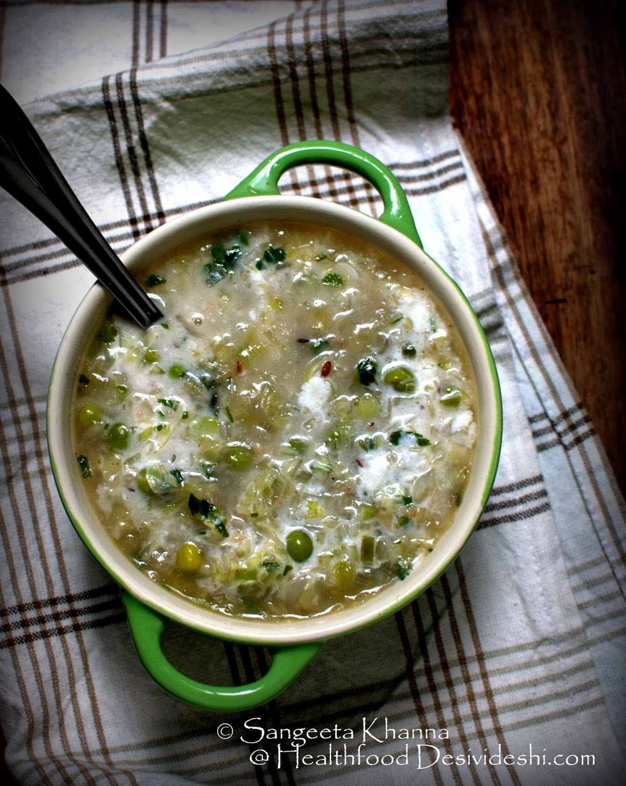 soup dinners : cabbage and peas soup with seasonal herbs