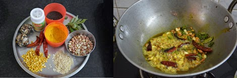Ingredients needed for tamarind rice/puliyodharai