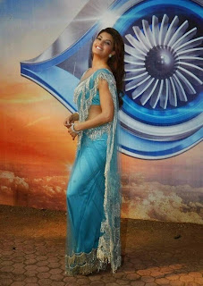 Actress Jacqueline Fernandez Pictureso in Blue Saree at Roy Movie Promotions On The Sets Of Bigg Boss Season 8  7.JPG