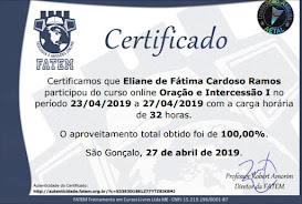 CERTIFICADO DA FACULDADE DE ORAÇÃO E INTERCESSÃO 1