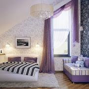 Habitaciones de Chicas Lindas lila blanco negro sala ninas