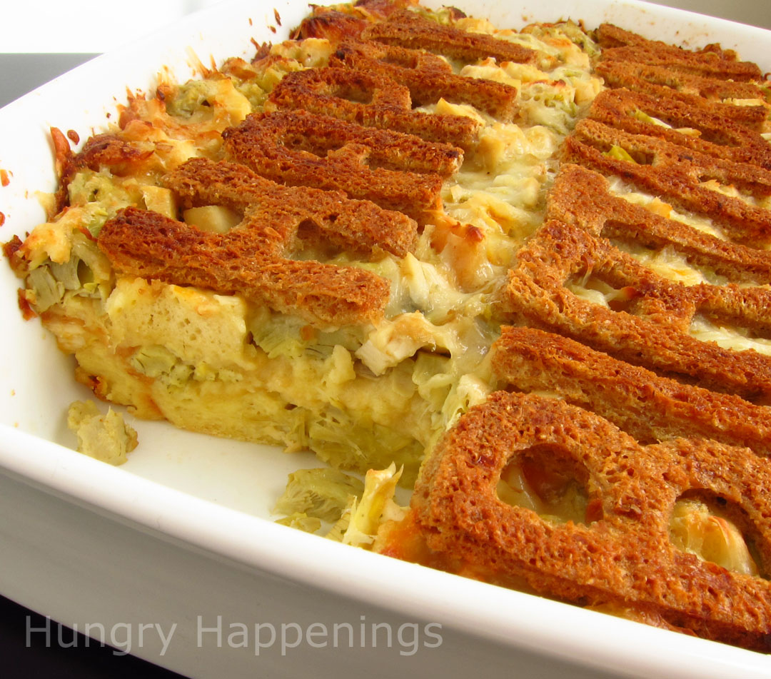 ... Chicken, Artichoke, and Three Cheese Bread Pudding - Hungry Happenings
