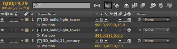 The layers of the 3D_build_centuryscape comp in the After Effects timeline.