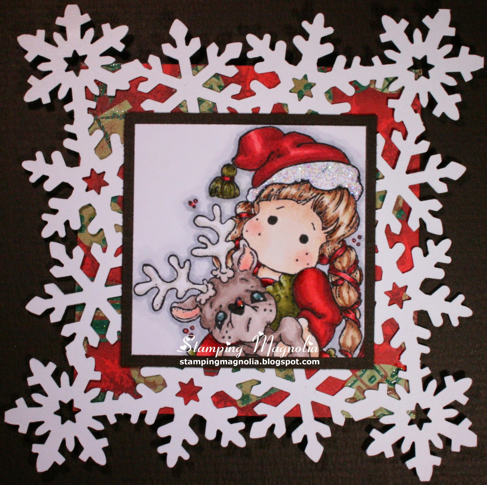 Coloring Magnolia Stamp A Christmas Story Collection - Tilda with Rudolph