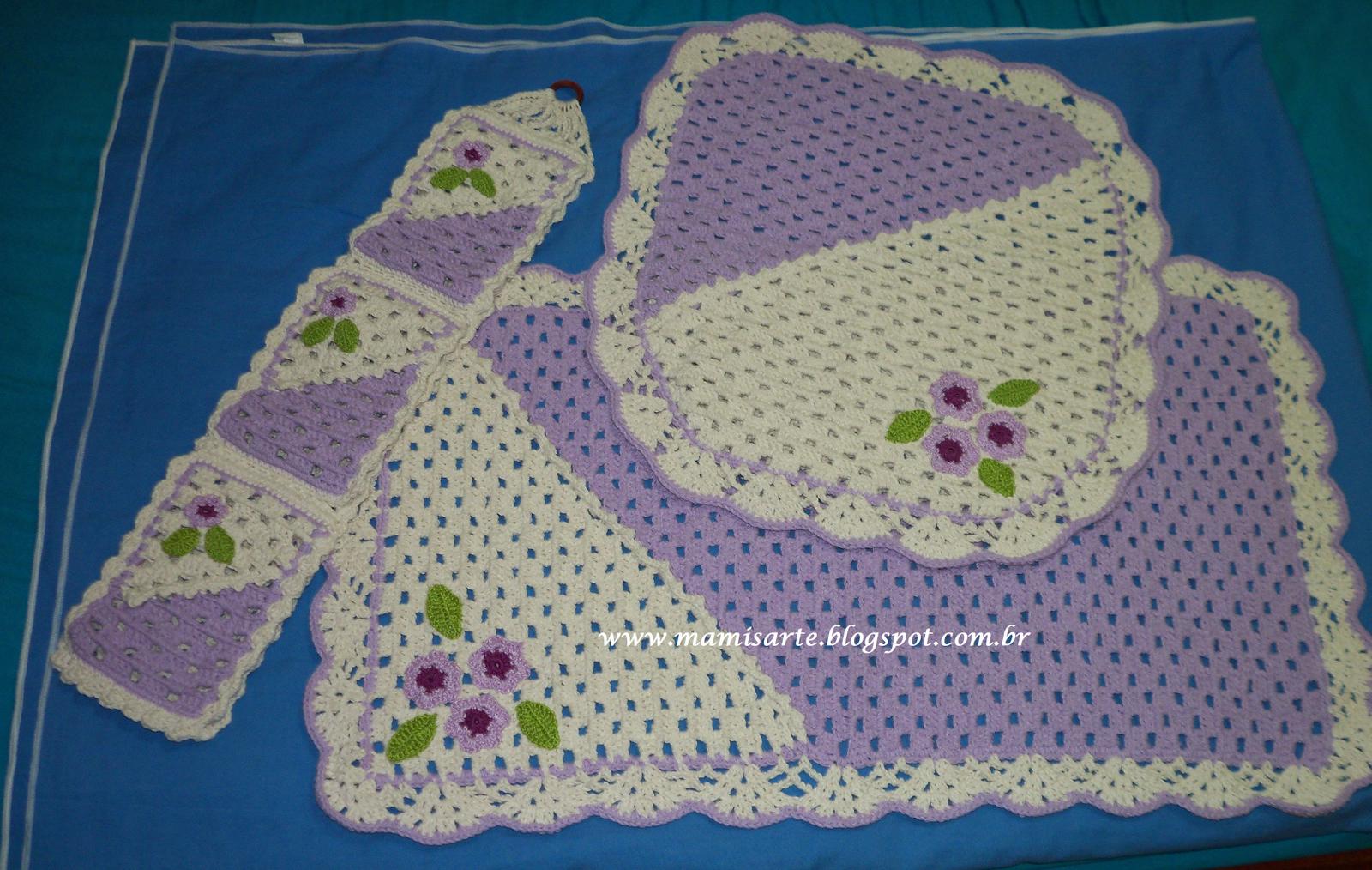Crochet et Tricot da Mamis Jogo de Banheiro em Duas Cores Como diminuir e a -> Jogo De Banheiro Simples Em Croche Passo A Passo