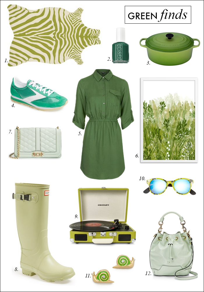green clothing, green hunter boots, green quilted crossbody bag, green bucket bag, green turntable, green zebra rug