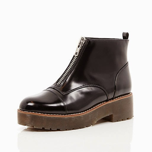 black zip boots river island