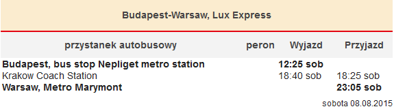 Budapeszt-Kraków-Warszawa, Lux Express