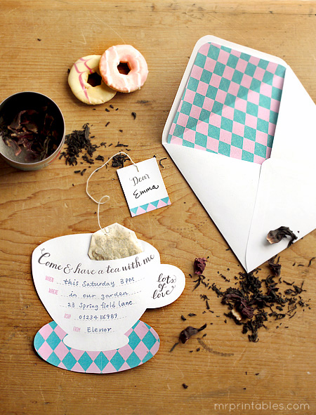 free Tea party invitations and evelopes