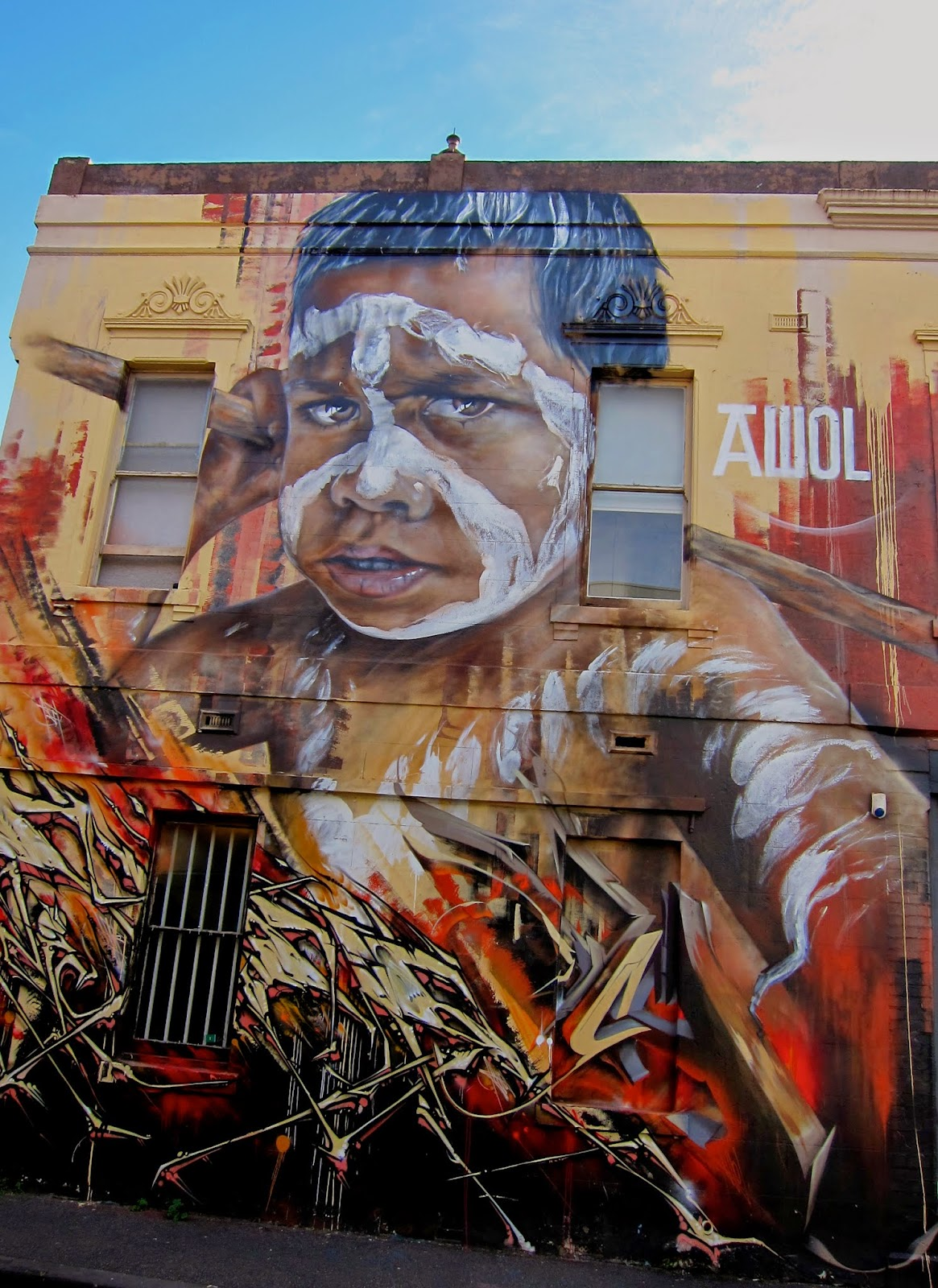 indigenous boy street art fitzroy graffiti aboriginal