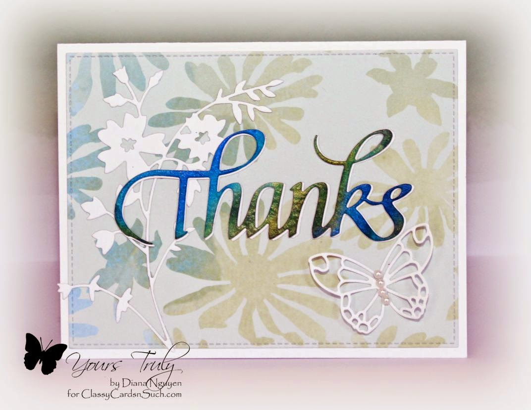 Quietfire Design, Thanks, Memory Box, Poppystamps, Diana Nguyen, Twinkling H2O