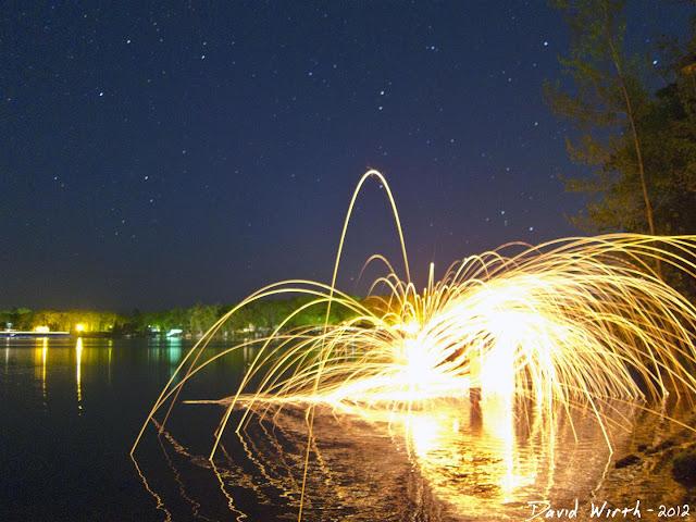 spinning wool, on the beach, lake, stars, night sky, sparks, lit, fire, steel wool