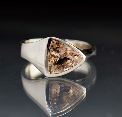 Trillion Morganite Ring Side View