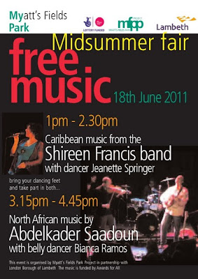 Myatt's Field Park Midsummer fair 18 June 2011 poster on Vassall view