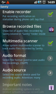 Android Call Recorder & Blocker - Recorder Settings