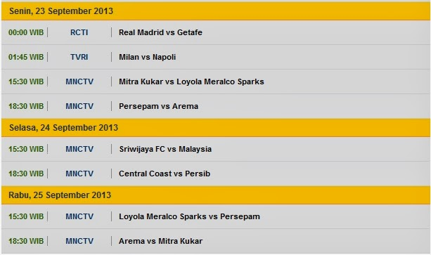 23+september+2013 Jadwal Sepak Bola 21 25 September 2013