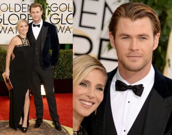 Chris Hemsworth and wife at the golden globes award 2014